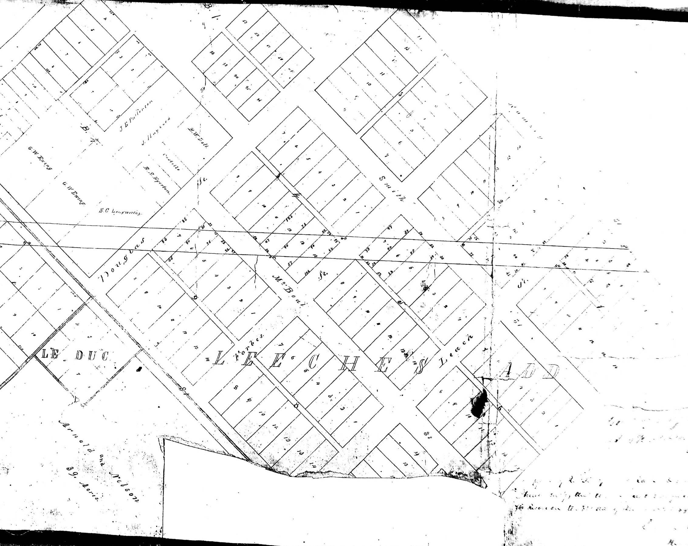 Portion of second and final plat for the extension of Fort Road running through Leech's Addition, 1859.  The Waldman House is located in Block 9, Lot 14 on the left (west) side of Forbes Street.  On this final plat, the Fort Road extension runs southwest diagonally through Leech's Addition.