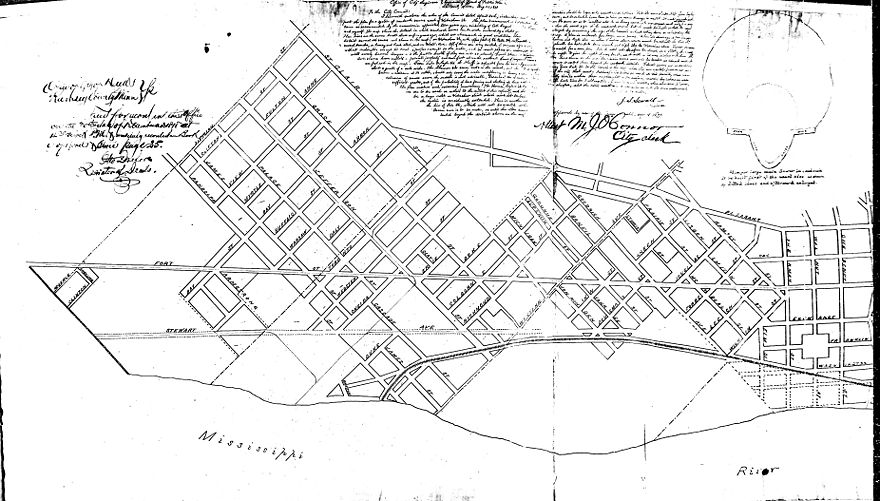 "1874 sewer map showing both the original ""Old Fort Road"" (by then renamed Stewart Avenue) and the later Fort Road/West 7th running parallel and to the north."